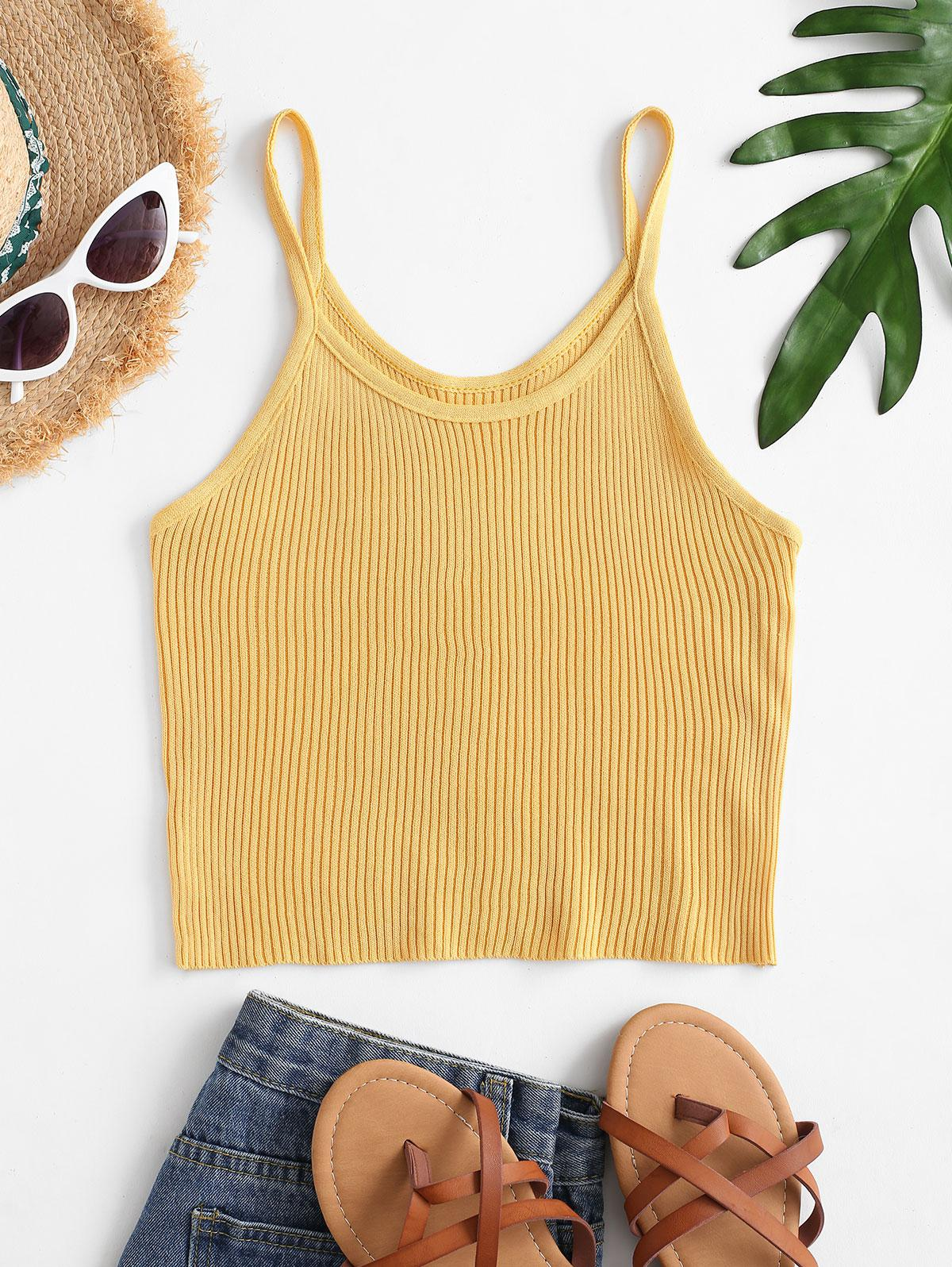 Knitted Fitted Plain Cami Top