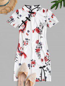 Floral Print Slit Mandarin Dress