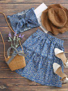 Ditsy Floral Bandeau Top And Skirt Set