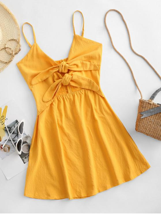 fancy Cami Tie Front Cut Out Mini Dress - BEE YELLOW S