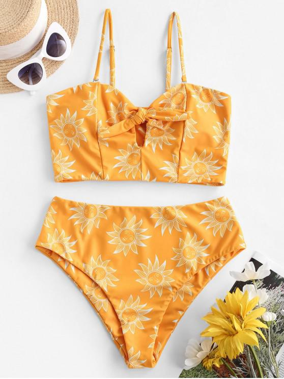 trendy ZAFUL Knot Sunflower Sun Stars Moon Tankini Swimwear - BEE YELLOW M