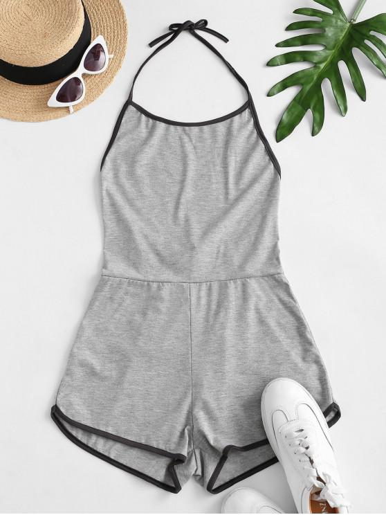 trendy Halter Tie Back Ringer Romper - GRAY CLOUD S