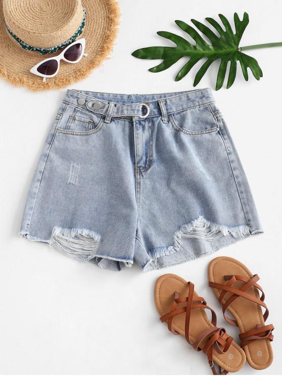 womens Frayed Hem High Waisted Grommet Denim Shorts - BLUE XL