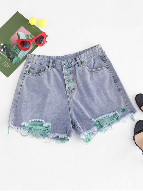online Ripped Button Fly Frayed Denim Shorts - GREEN M