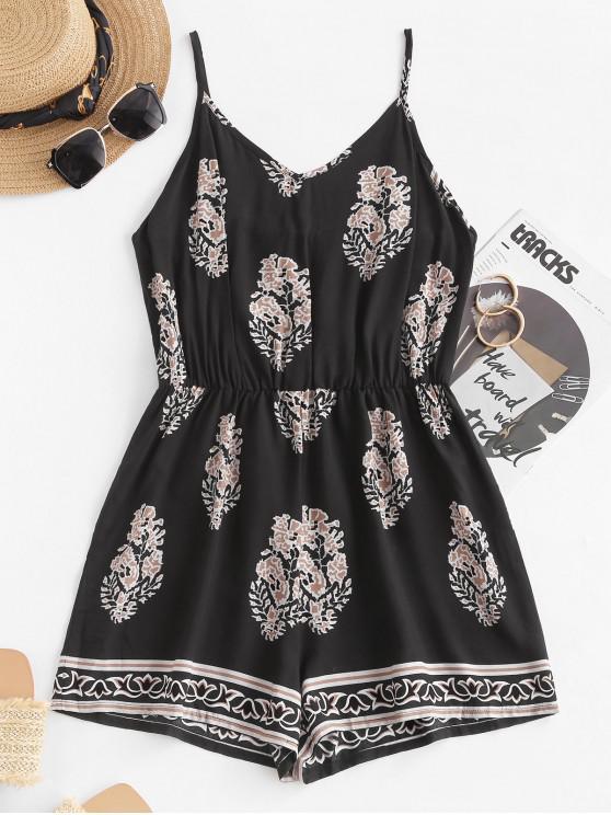 fashion Leaf Print Wide Leg Cami Romper - BLACK M