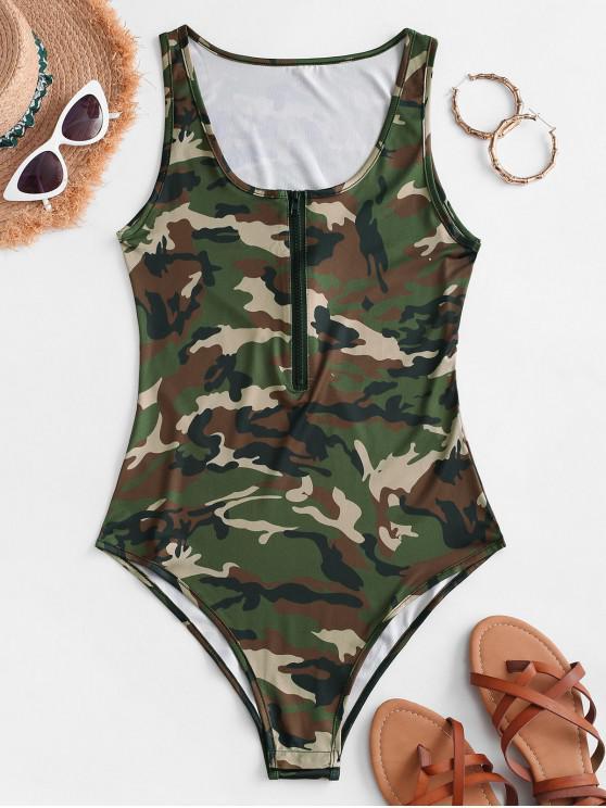 hot Sleeveless Camouflage Half Zip Bodysuit - ARMY GREEN S