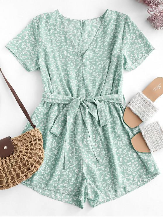 outfits Ditsy Print Belted Plunging Wide Leg Romper - GREEN L
