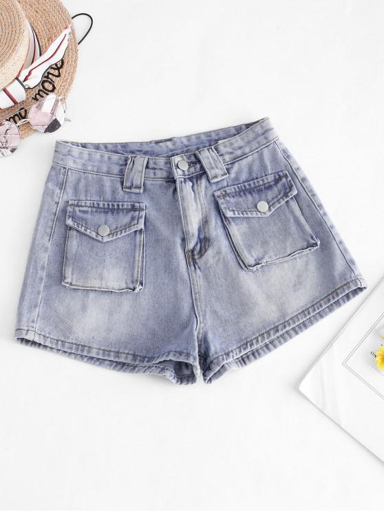 Zip Fly Cargo Pocket Denim Shorts - أزرق L