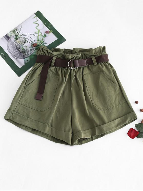 ladies Pocket Cuffed Belted Paperbag Shorts - ARMY GREEN L