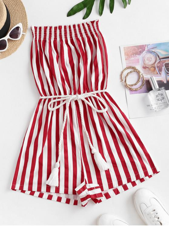 outfit Stripes Belted Tassels Strapless Romper - MULTI-M M