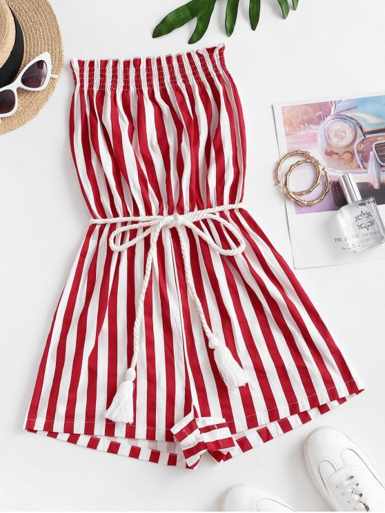 trendy Stripes Belted Tassels Strapless Romper - MULTI-M S