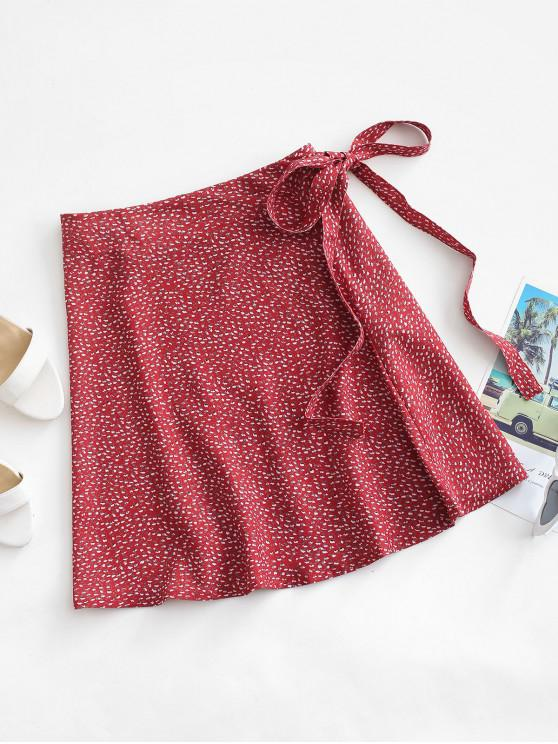 chic Ditsy Print Wrap Skirt - RED ONE SIZE