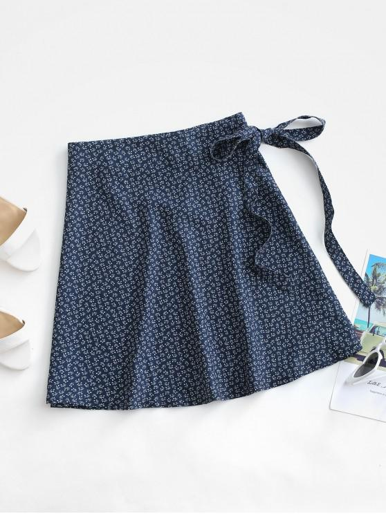 lady Ditsy Print Wrap Skirt - DEEP BLUE ONE SIZE