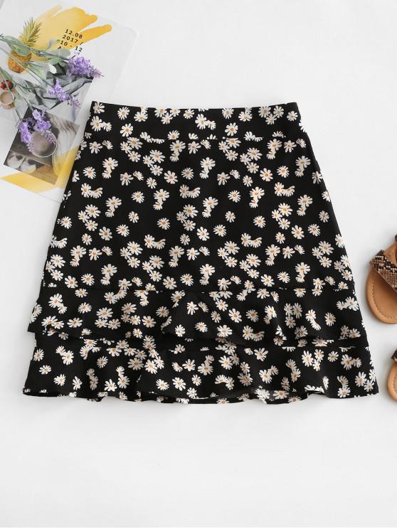 buy Daisy Print Tiered Flounce Skirt - BLACK M