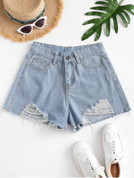outfits Frayed Shredded Denim Cutoff Shorts - LIGHT BLUE M