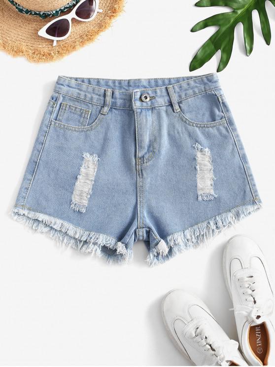 women's Destroyed Mini Denim Shorts - LIGHT BLUE S