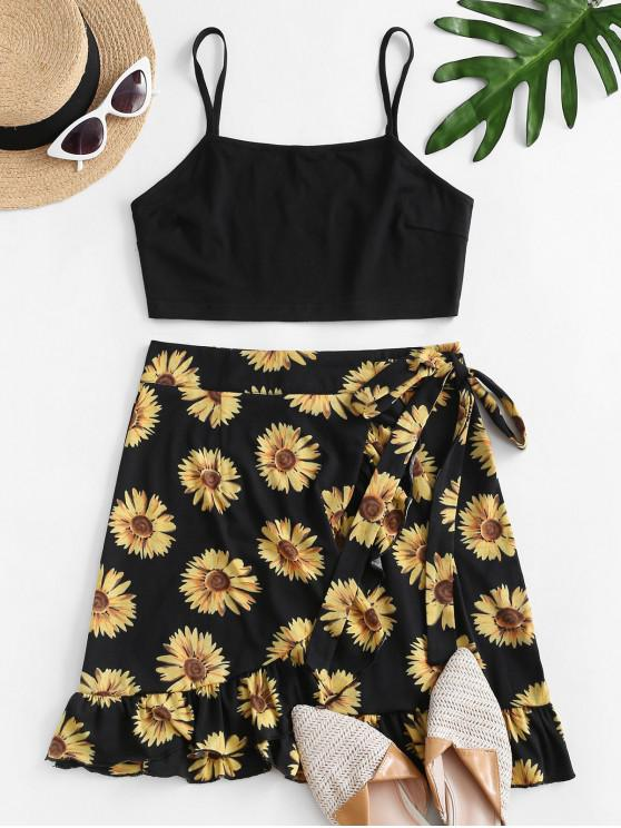 affordable Sunflower Print Ruffle Bowknot Skirt Set - BLACK S