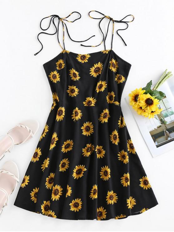 unique ZAFUL Sunflower Print Tie Shoulder Backless Dress - BLACK S