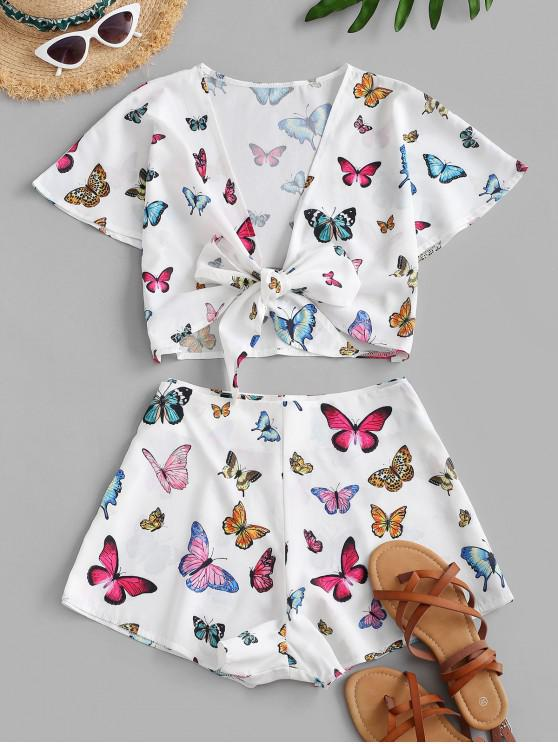 ladies ZAFUL Butterfly Tie Front Cropped Two Piece Set - WHITE S