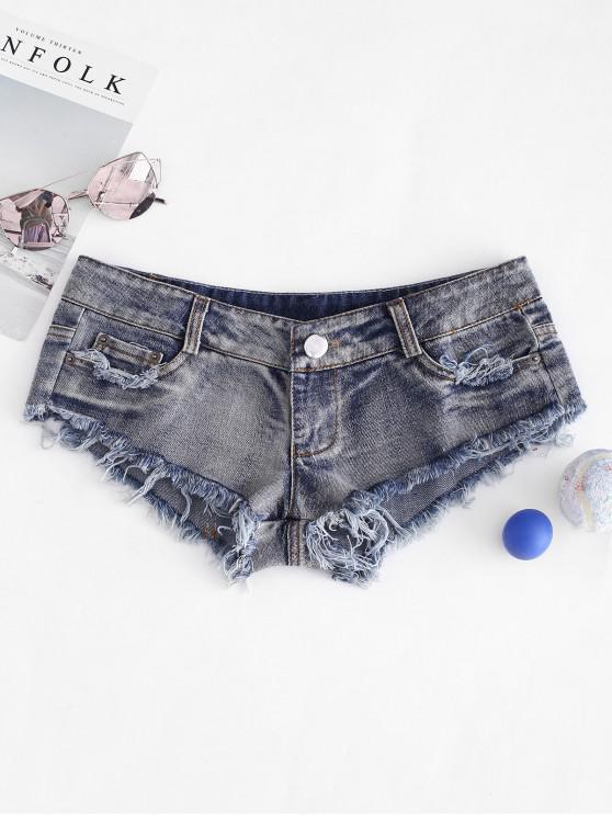 hot Frayed Hem Micro Denim Shorts - BLUE L