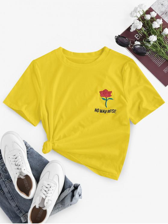 ZAFUL No Way Rose Embroidered Short Sleeve T-shirt - الأصفر L