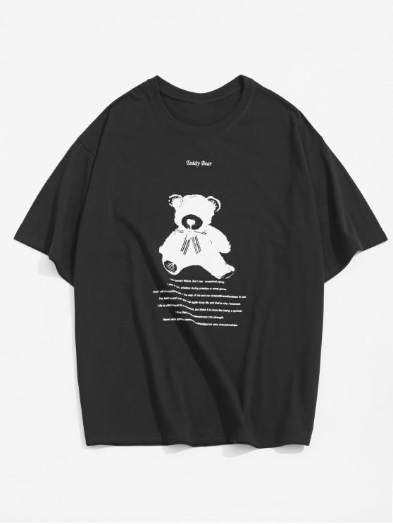 レターテディベアアニマルグラフィックTシャツ - ブラック M