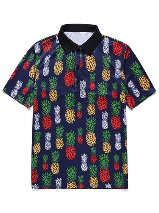 Pineapple Print Button Casual T-shirt - ازرق غامق 2XL