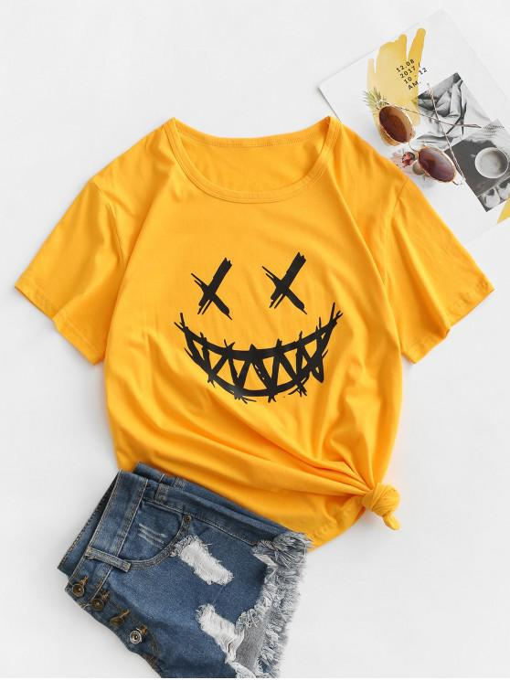 sale Grimace Graphic Funny Halloween T-shirt - YELLOW S