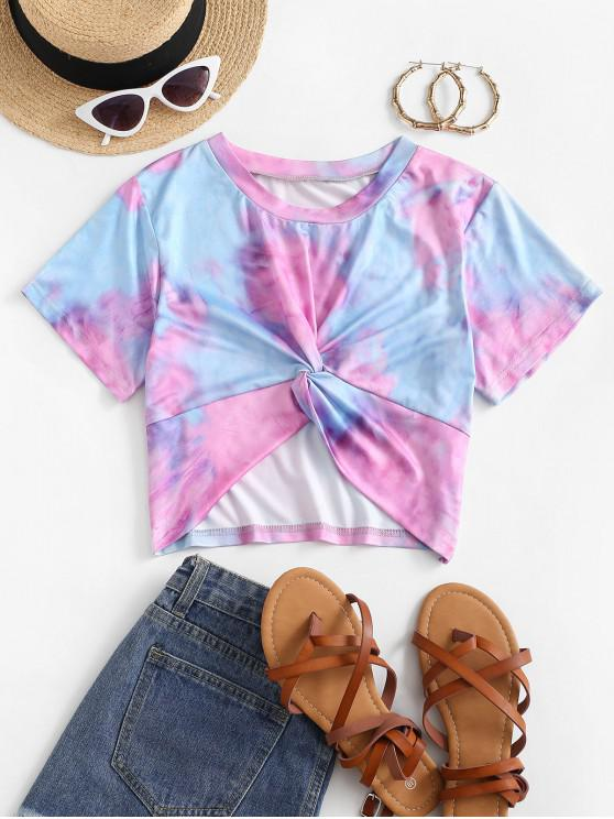 hot Tie Dye Twisted Crop T-shirt - PINK M