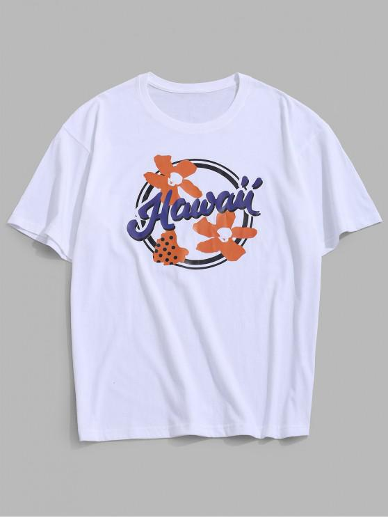 affordable Flower Hawaii Graphic Basic T-shirt - WHITE 3XL