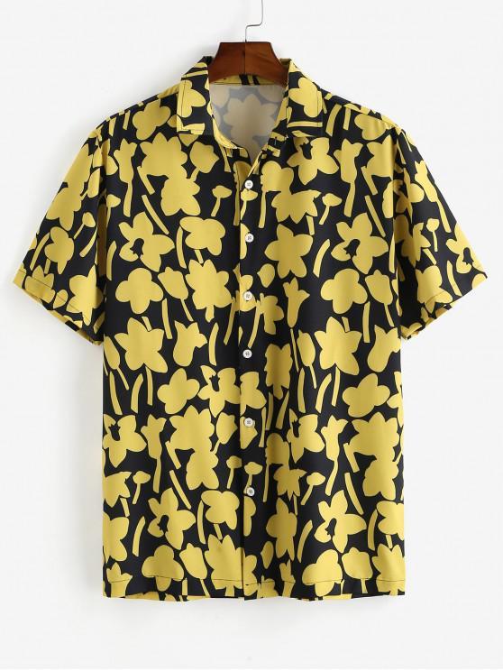womens ZAFUL Floral Print Button Casual Shirt - BLACK 2XL