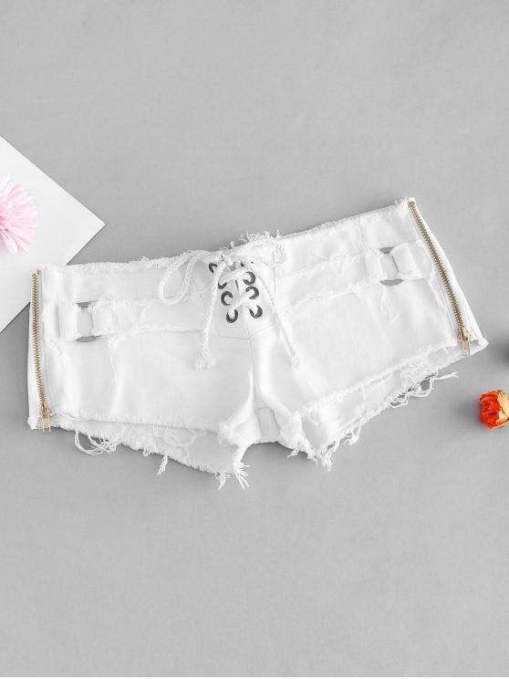 shop Frayed Grommet Lace Up Zip Mini Denim Shorts - WHITE M