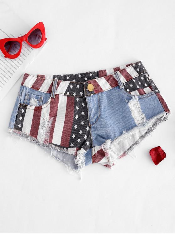 lady American Flag Frayed Ripped Mini Denim Shorts - BLUE XL