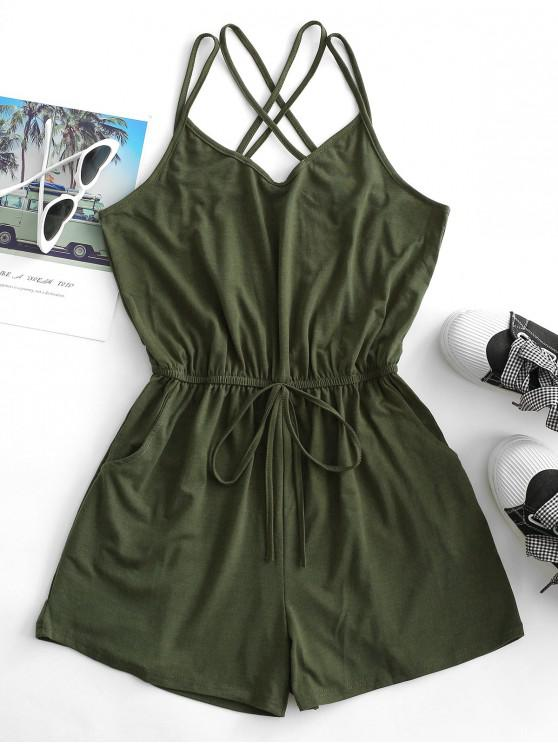 womens Straps Caged Back Tie Cami Pocket Romper - ARMY GREEN XL