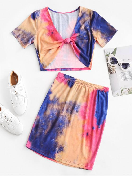 ZAFUL Tie Dye înnodate Bodycon Fusta Set - Multi-A XL