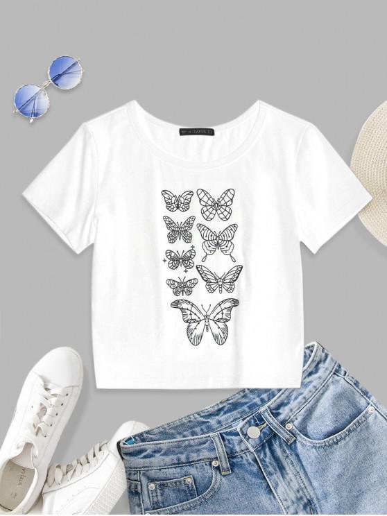 lady ZAFUL Butterfly Pattern Short Sleeve T-shirt - WHITE S