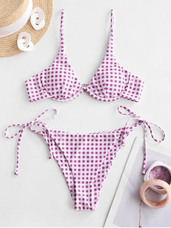 outfit ZAFUL Gingham Underwire String Bikini Swimwear - MAUVE L