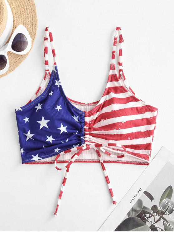 affordable ZAFUL Patriotic American Flag Cinched Ribbed Swim Top - MULTI-A L