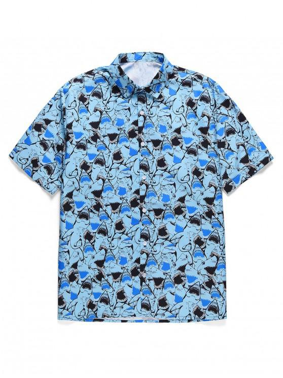 women's Shark Print Button Short Sleeves Shirt - SKY BLUE XL