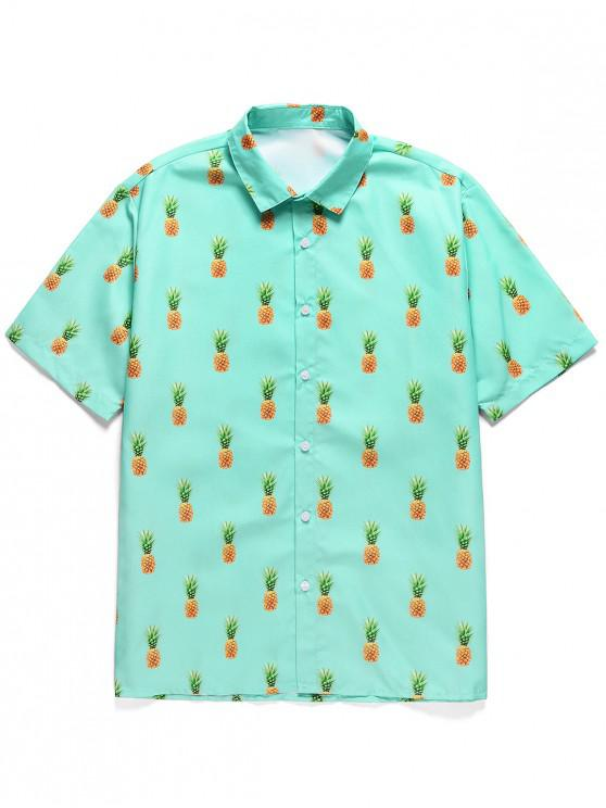 chic Pineapple Print Button Short Sleeves Shirt - MEDIUM TURQUOISE L