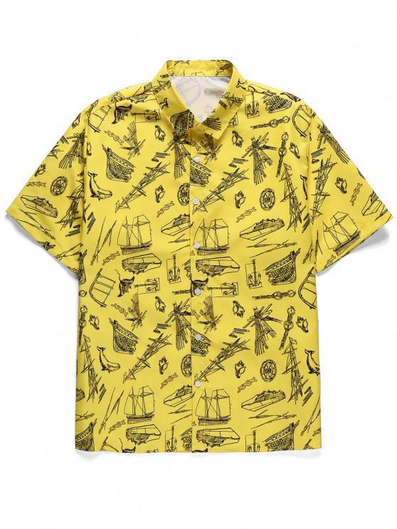 Kurzärmliges Hemd mit Blattdruckknopf - Gelb 2XL