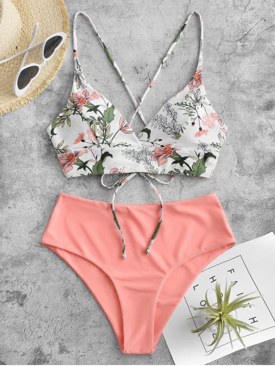 shop ZAFUL Play With Mix and Match Tankini Swimwear - LIGHT SALMON L