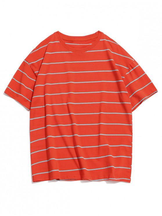 women Striped Pattern Casual Round Neck T-shirt - PUMPKIN ORANGE XL
