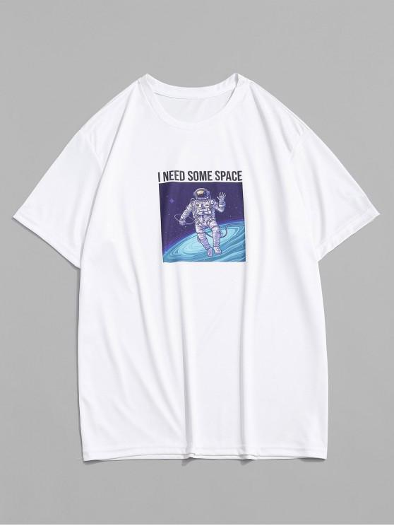 Astronaut Letter Print Short Sleeves T-shirt - أبيض M
