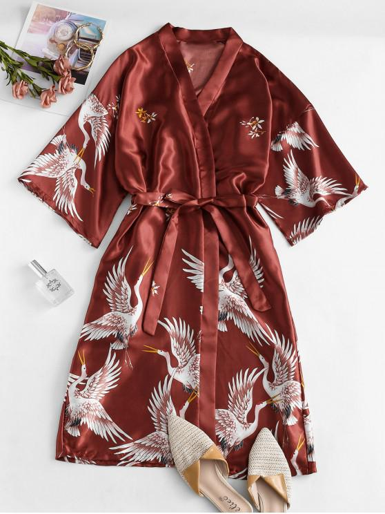 outfit Belted Satin Crane Floral Wrap Robe - CHESTNUT RED ONE SIZE