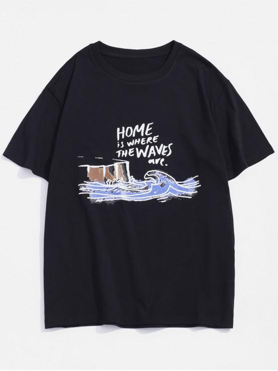 Home Waves Paint Graphic Basic T-shirt - أسود M