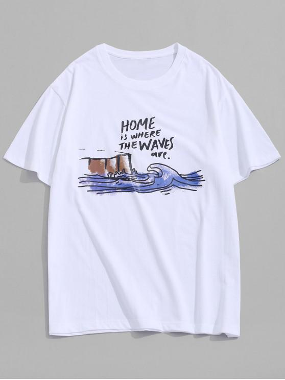 affordable Home Waves Paint Graphic Basic T-shirt - WHITE 3XL