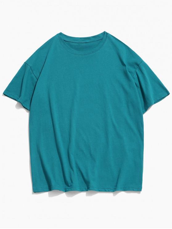 T-shirt Classique en Couleur Unie à Col Rond - Bleu Océan 2XL
