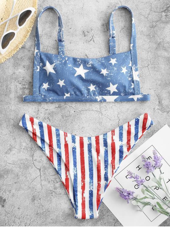 womens ZAFUL Distressed American Flag Ribbed Bikini Swimwear - MULTI-A L