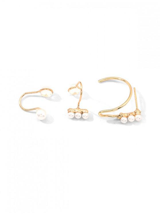 Faux Pearl Cuff Earrings Set - ذهب